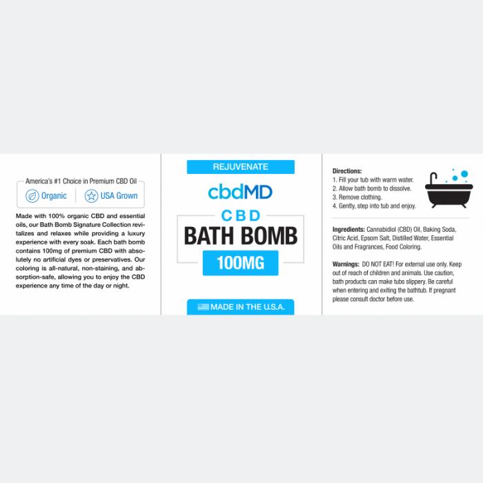 cbdMD Eucalyptus Bath Bomb (Rejuvenate)
