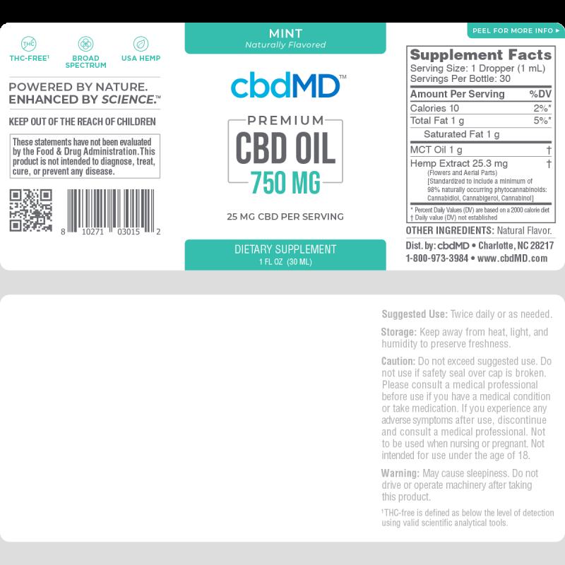 cbdMD Mint Oil Tincture 750mg